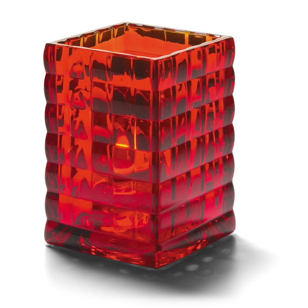 "Hollowick 1533R Square Optic Block Glass Lamp, 2-5/8""W x 3-3/4""H, Ruby"
