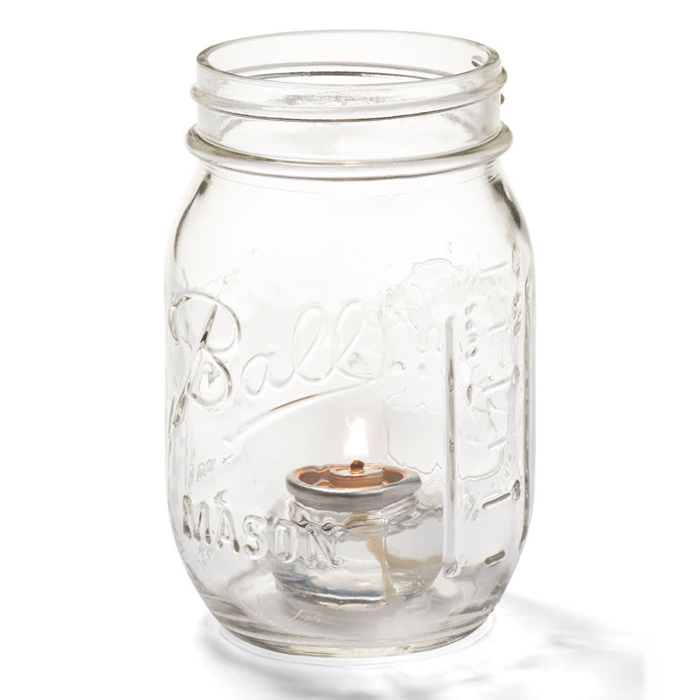 Hollowick 1600C Firefly Tealight Candle Holder for HD8 Fuel Cell - Jar Only, Clear