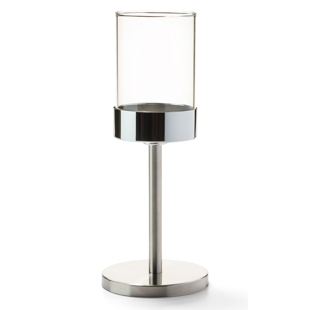 """Hollowick 272BSS Mod Candlestick Base w/ Shade Support, 6.75x4"""", Brushed Stainless"""