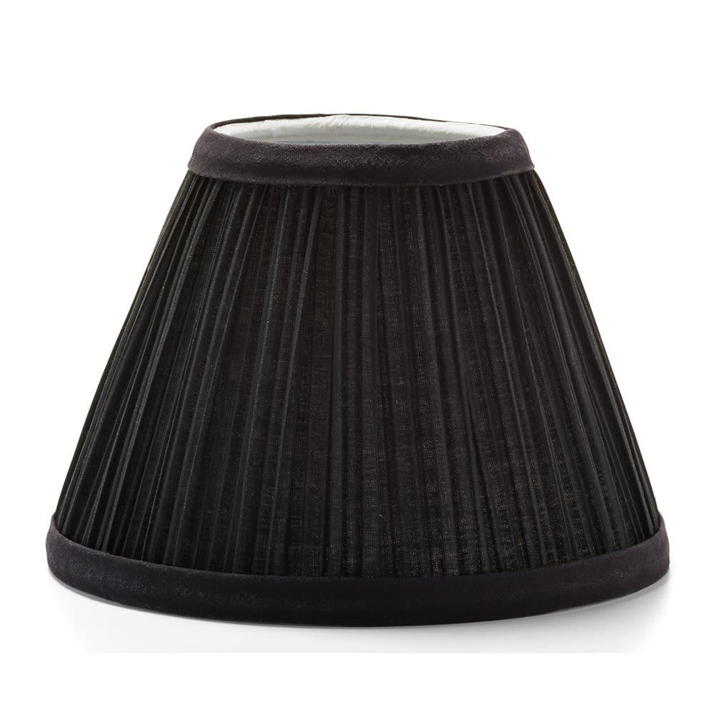 "Hollowick 296B Pleated Slim Line Fabric Lamp Shade w/ Fire Retardant Fabric & Liner, 6x4.5"", Black"
