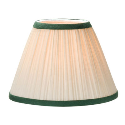 "Hollowick 296I+GR Pleated Fabric Lamp Shade for HD3622-HL - 6"" x 4.5"" Ivory w/ Green Trim"