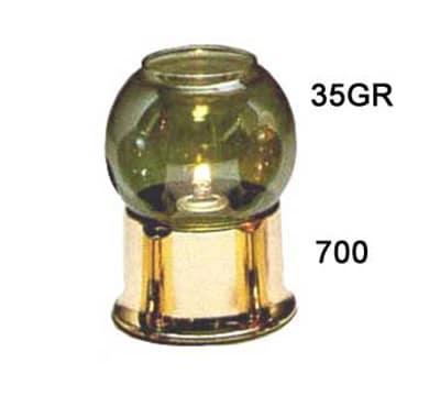 Hollowick 35GR Fitter Globe For 3-in Fitter Base, 3.38x3.13-in, Glass, Green Lustre Bubble