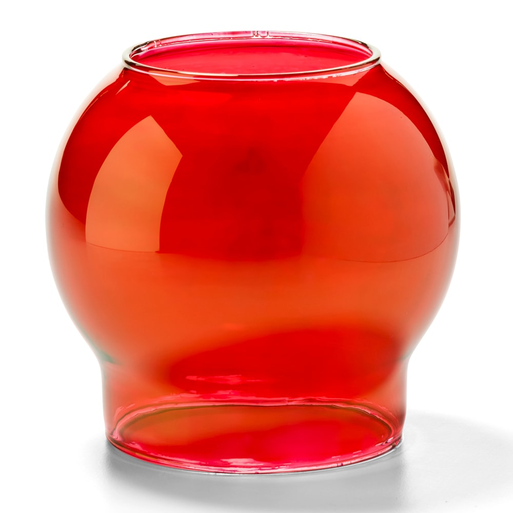 "Hollowick 35R Fitter Globe for 3"" Fitter Base, 3.38x3.13"", Glass, Ruby Bubble"