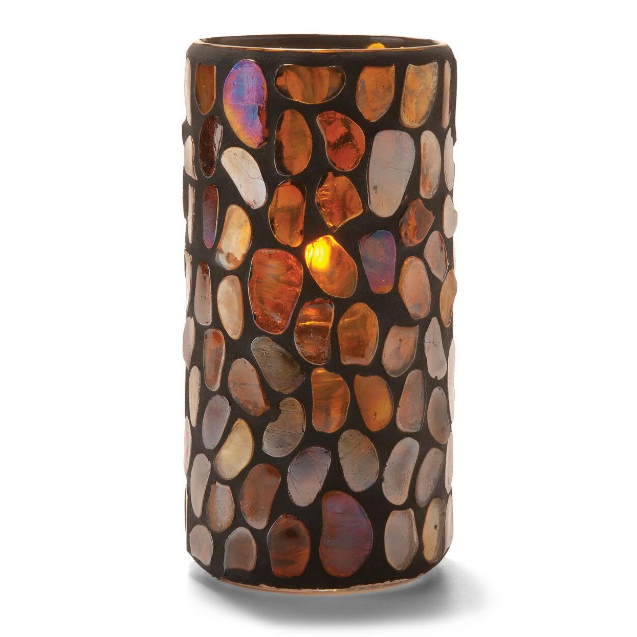 "Hollowick 46318A Pebble Cylinder, 6x3"", Glass, Amber Mosaic"