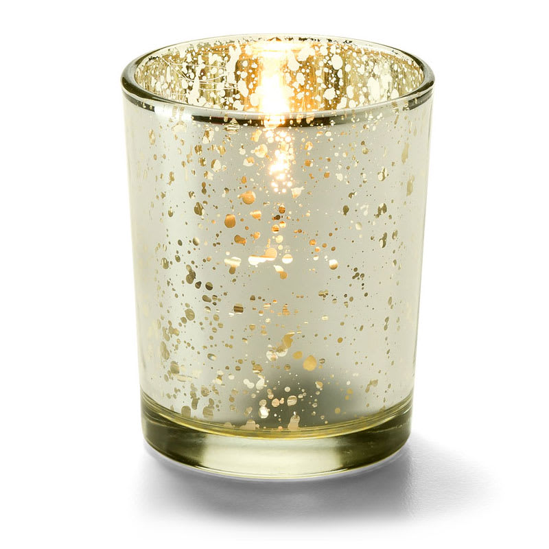 "Hollowick 5100 Fleck Tealight Candle Holder for HD8 - 2.63"" x 2.13"", Golden Glitter"