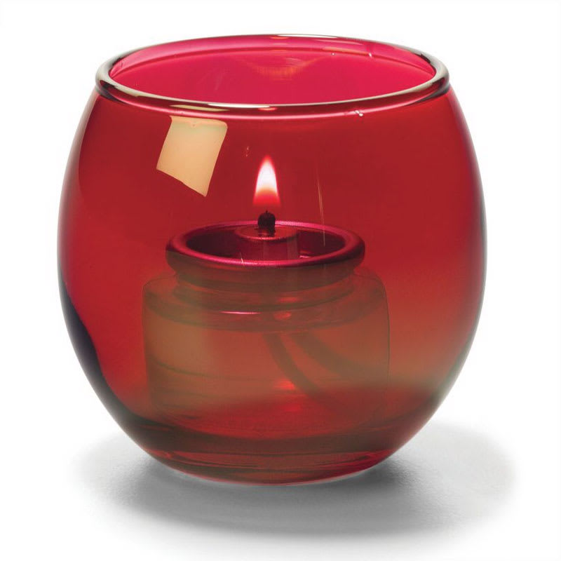 "Hollowick 5119R Tealight Lamp w/ Bubble Style, 2.63x2.38"", Glass, Ruby Lustre"