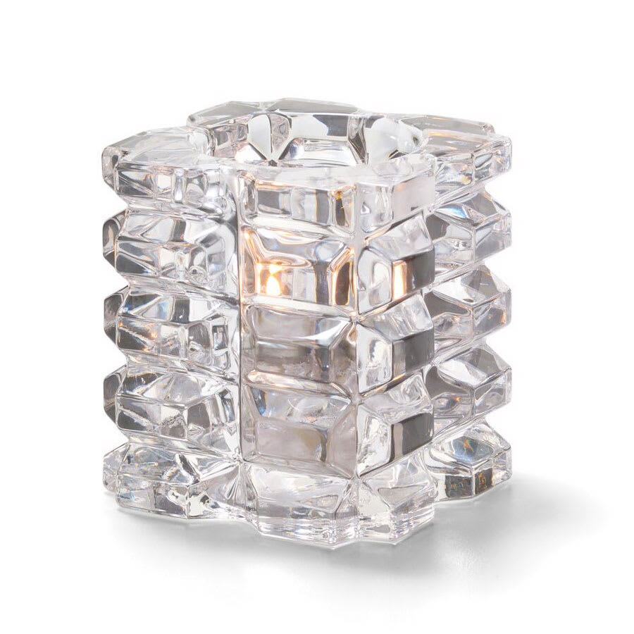 """Hollowick 5151C-4 3"""" Round Votive Lamps - Cube Style, Faceted, Glass, Clear"""