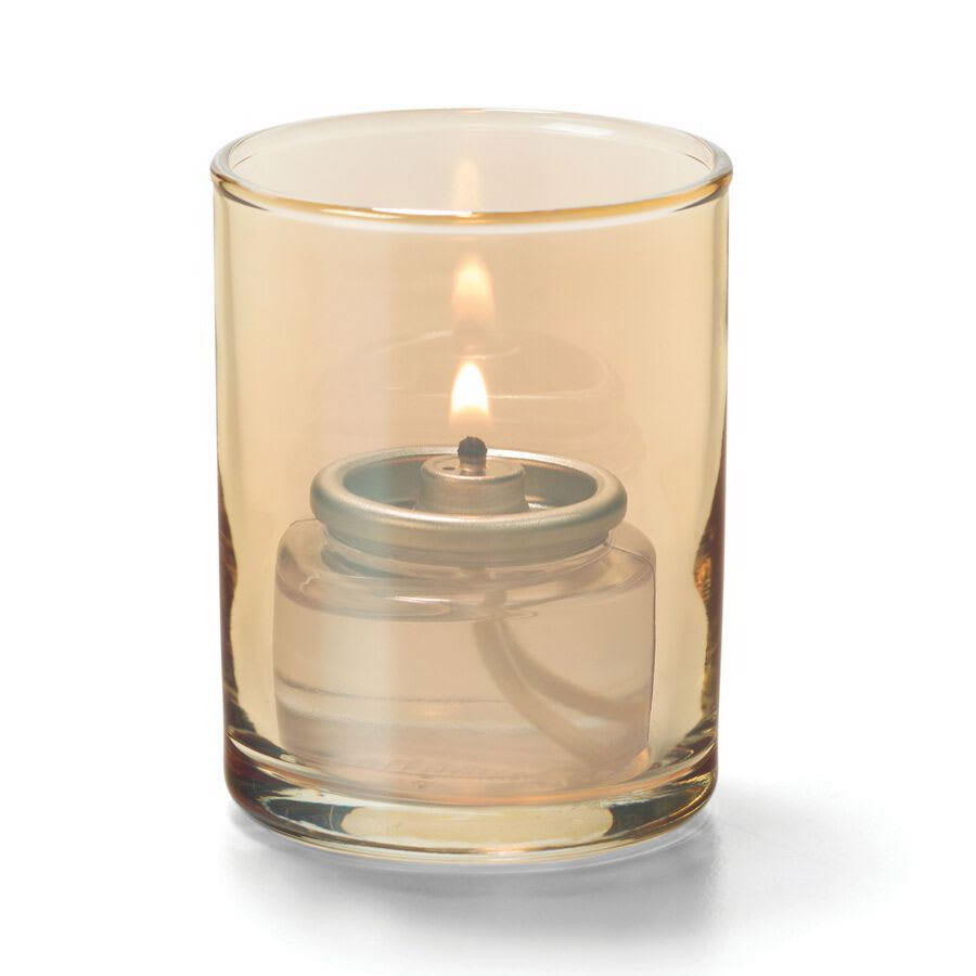 "Hollowick 5176G Tealight Lamp w/ Cylinder Style, 2.5x2"", Glass, Gold Lustre"