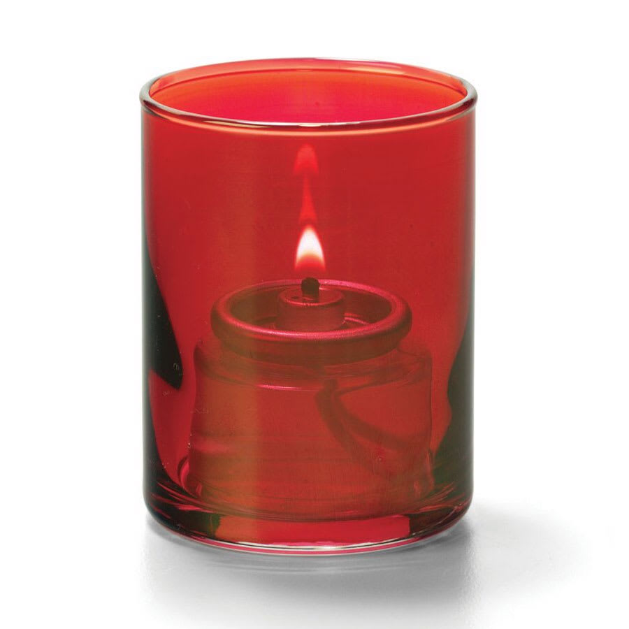 "Hollowick 5176R Tealight Lamp w/ Cylinder Style, 2.5x2"", Glass, Ruby Lustre"