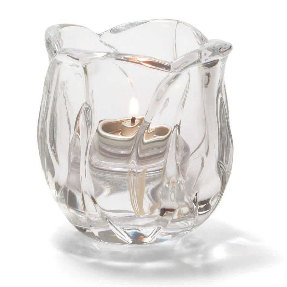 """Hollowick 6697C Votive Lamp w/ Cylinder Style for HD15, HD12 & HD8, 3.63x3"""", Lead Crystal, Clear"""