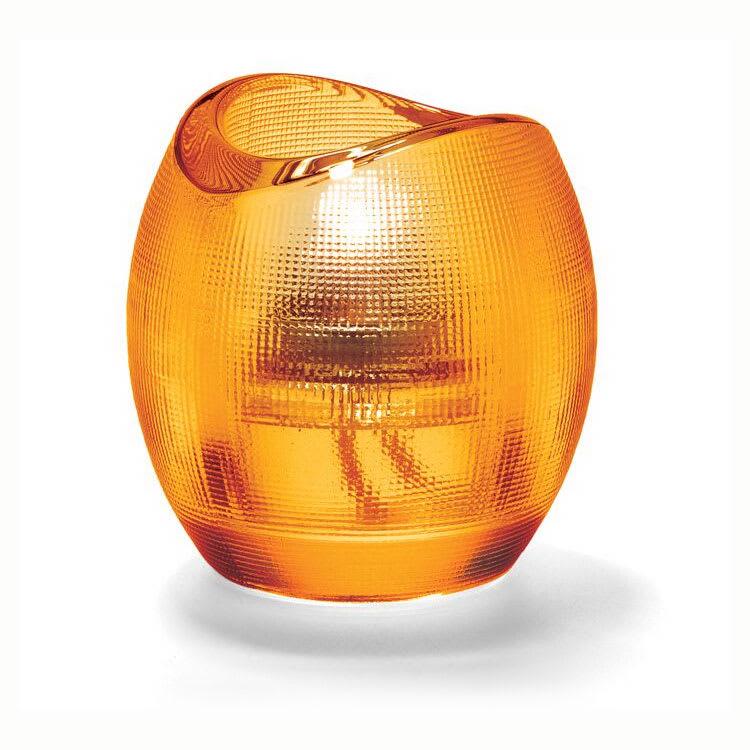 """Hollowick 6701A Pixel Tealight Holder w/ Mesh Textured Exterior, 3x2.88"""", Glass, Amber"""