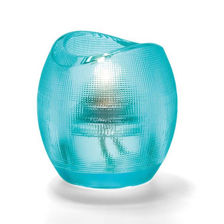 """Hollowick 6701AQ Pixel Tealight Holder w/ Mesh Texture, 3x2.88"""", Glass, Aqua"""