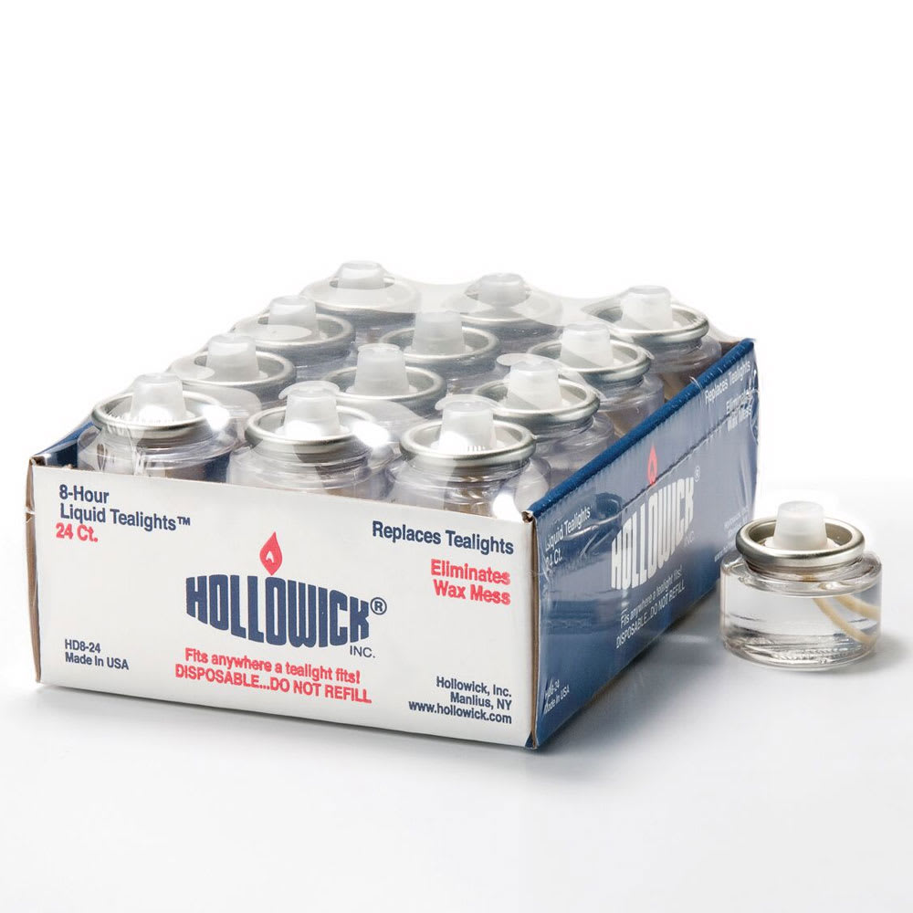 "Hollowick HD8-24M 12-Pack Disposable Liquid Fuel Cell w/ 8-hr Capacity, 1.5x.82"", Plastic, Clear"