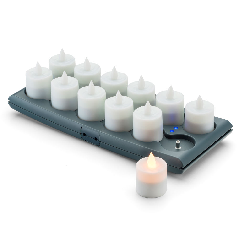 Hollowick Hfrv12 A 1 5 Round Led Flameless Votive Candles Set W Charging Tray 2 3 H Amber Flame