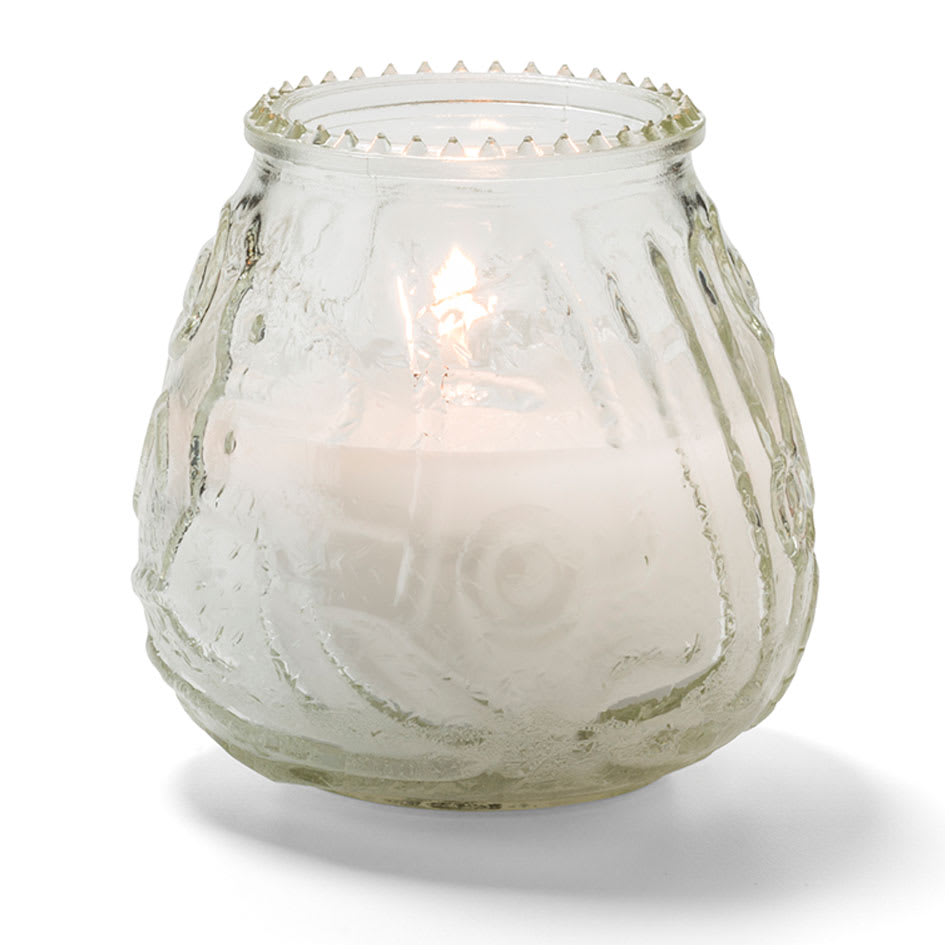 "Hollowick KG60C-12 60 hr Knobby Wax Candle - 3.75"" x 3.75"", Clear"