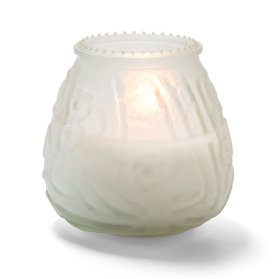 "Hollowick KG60F-12 60 hr Knobby Wax Candle - 3.75"" x 3.75"", Frosted"