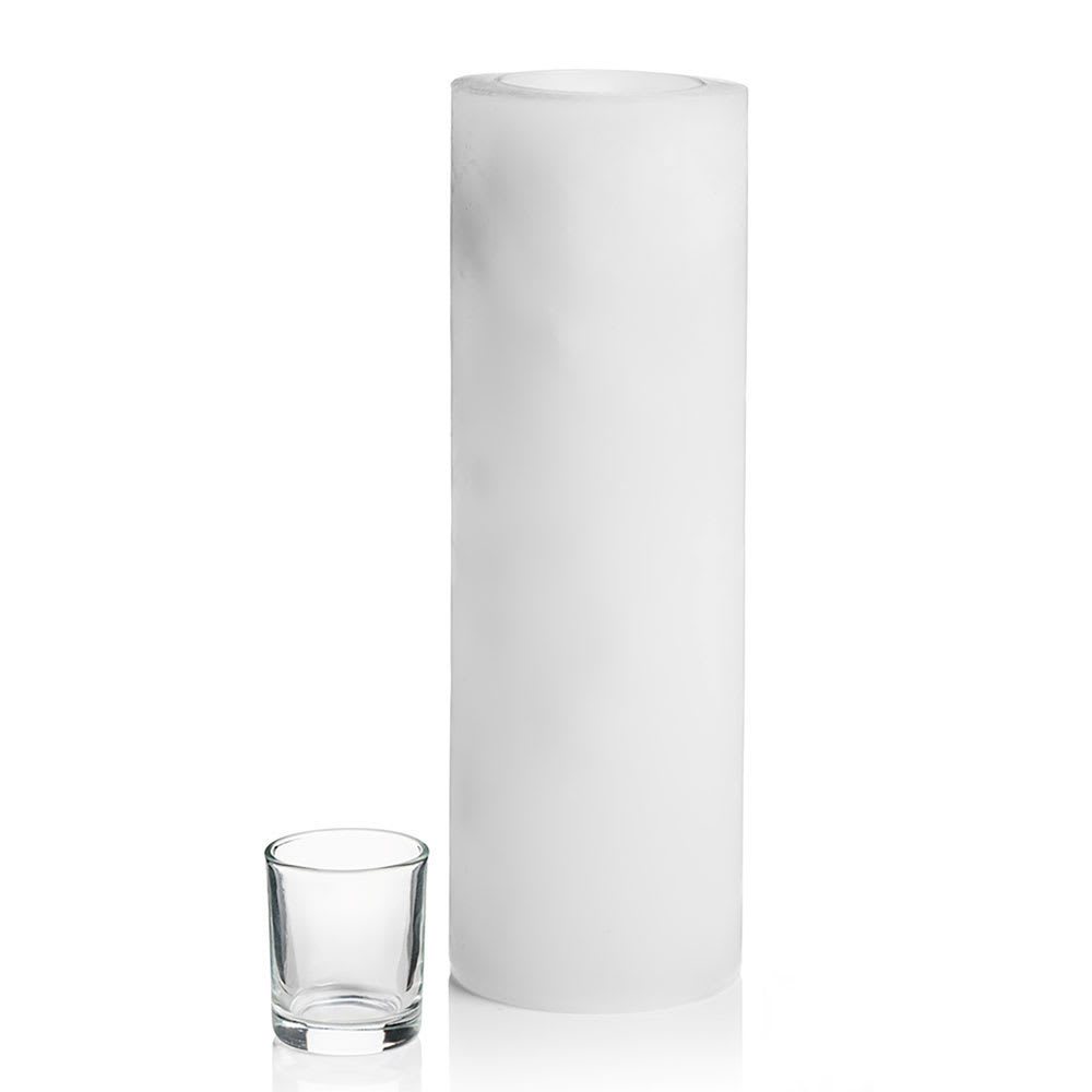 "Hollowick L12W Luminaires Pillar Candle Holder for HD8, HD12, & HD15 - 4"" x 12"", White"