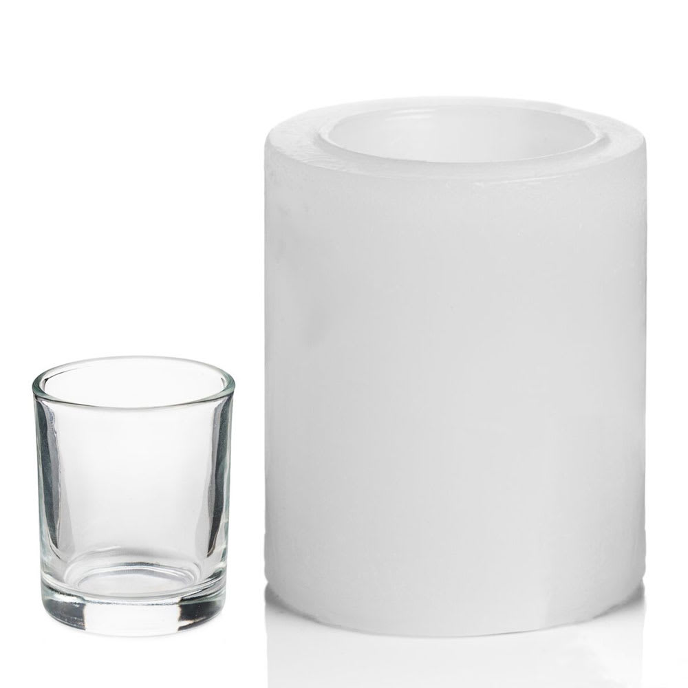 """Hollowick L3W Luminaires Pillar Candle Holder for HD8 - 3"""" x 3.5"""", White"""
