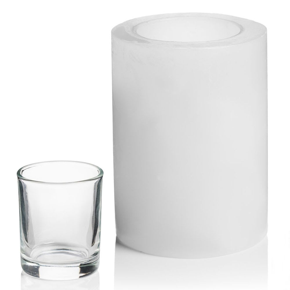 "Hollowick L5W Luminaires Pillar Candle Holder for HD8, HD12, & HD15 - 4"" x 5"", White"