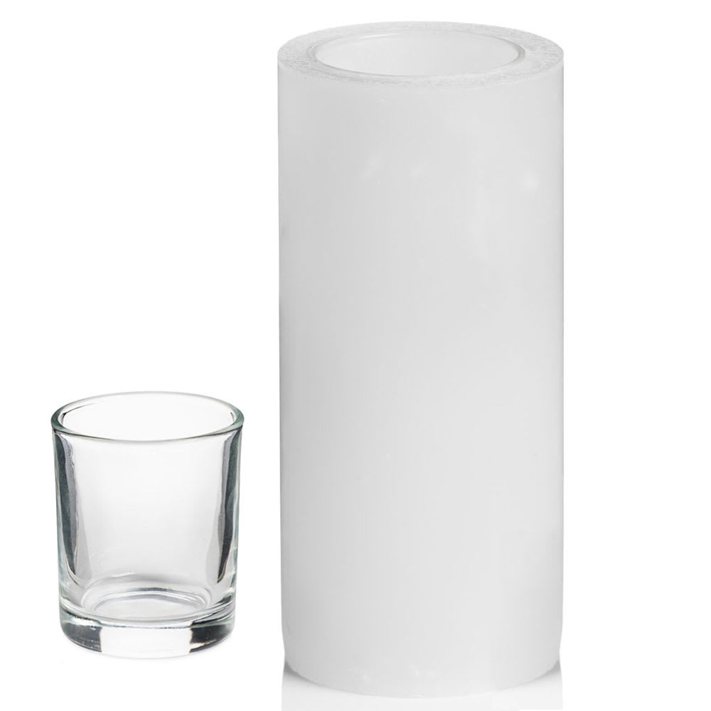 "Hollowick L6W Luminaires Pillar Candle Holder for HD8 - 3"" x 6"", White"