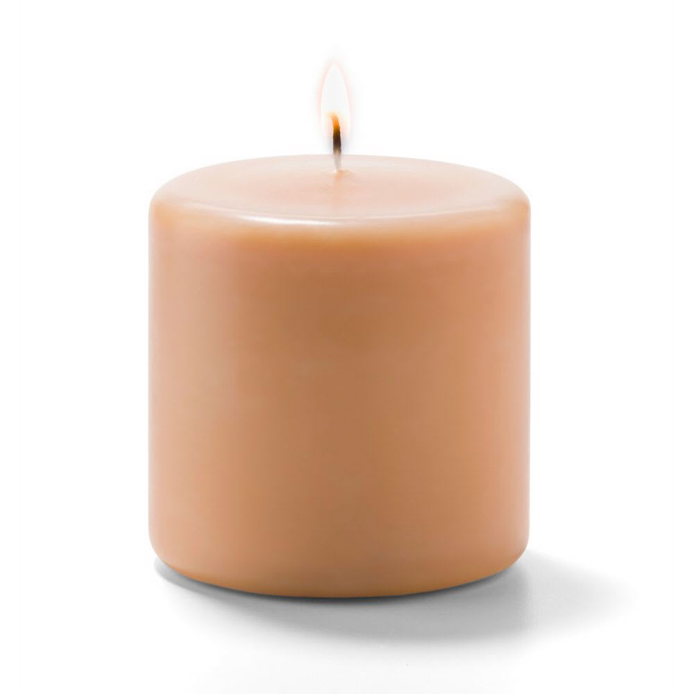"Hollowick P3X3CP-12 Wax Pillar Candle - 3"" x 3"", Wax, Cappuccino"