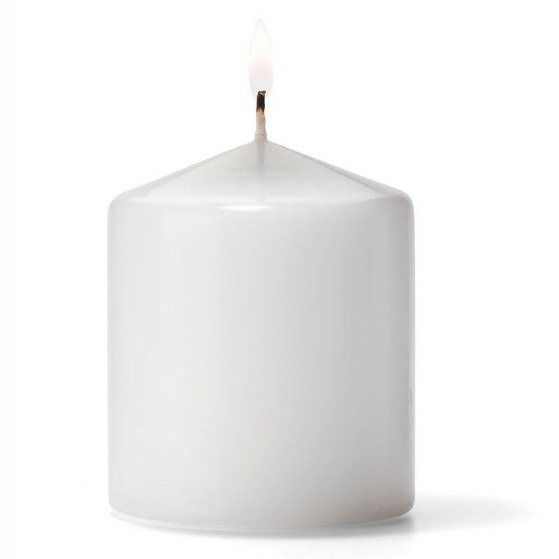 "Hollowick P3X3W-12 Pillar Candle, 3x3"", Wax, White"