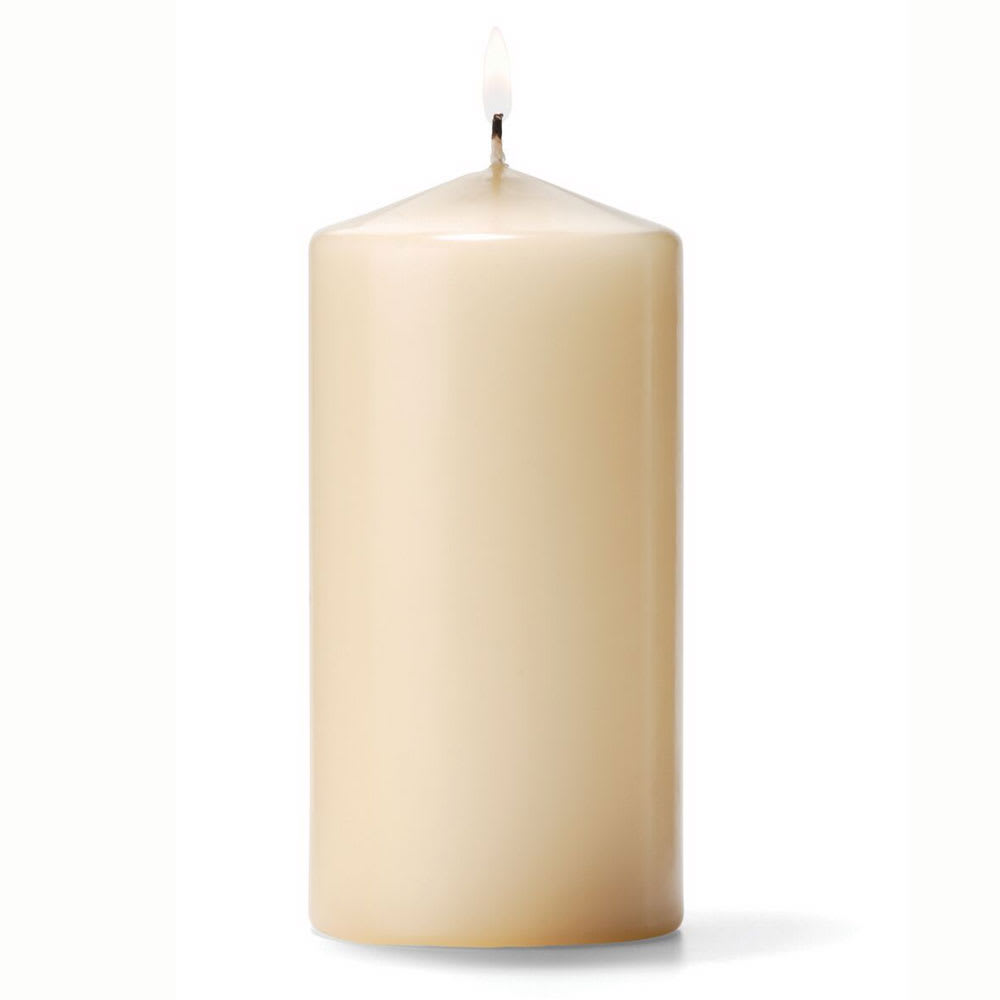 "Hollowick P3X6I-12 Pillar Candle, 6x3"", Wax, Ivory"