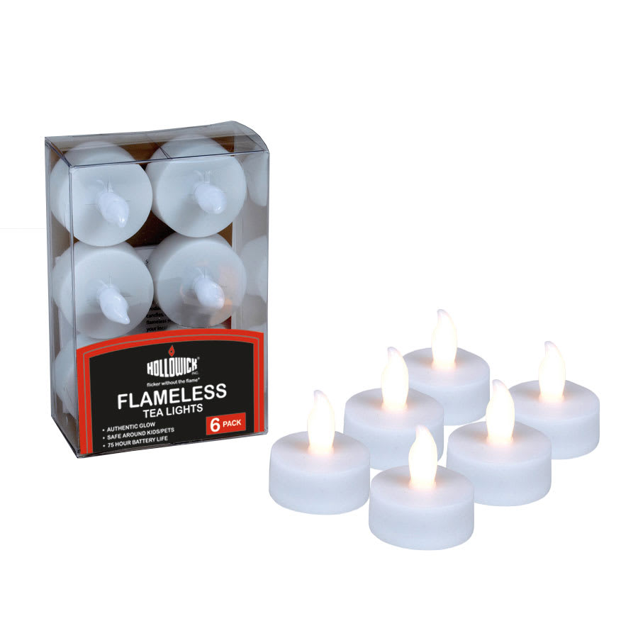 Hollowick HFBTL6-CL Tealight Ultra Bright LED Flameless Candle w/ Batteries