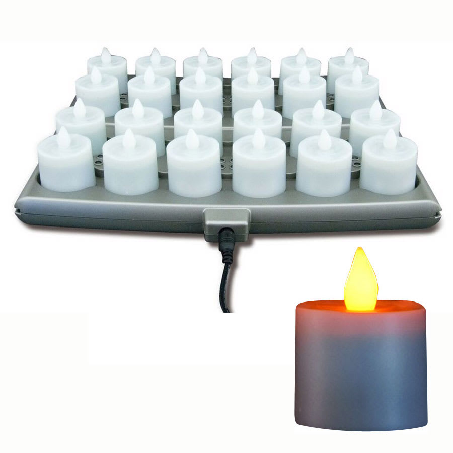 Hollowick SCRP24-A Platinum Flameless Candle Set w/ 24-Amber Candle & 2-Charging Tray