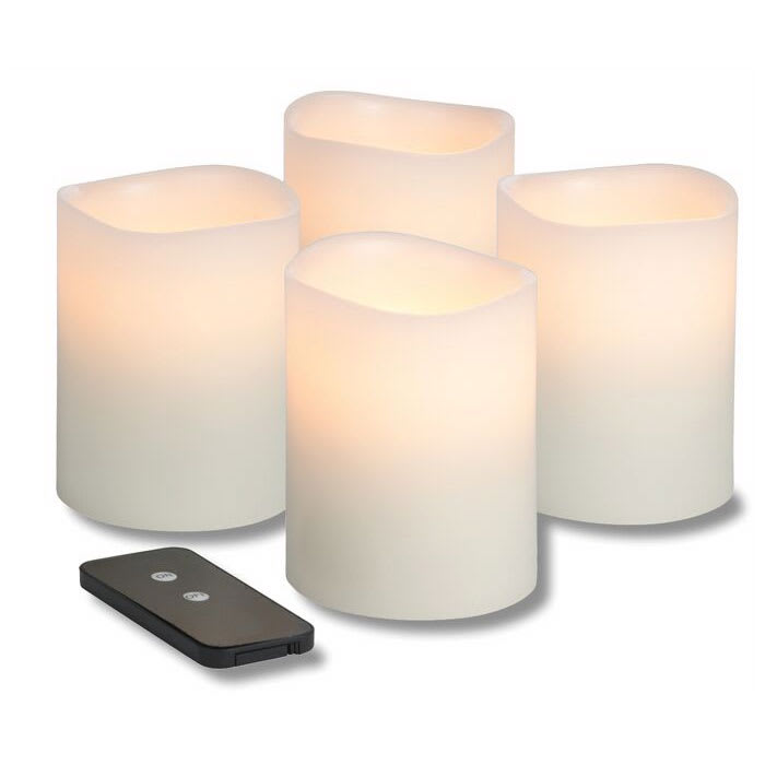 "Hollowick WP34ITR TruFlame LED Pillar Candle w/ Remote & 3-Stage Timer, 4"" High"