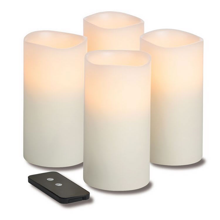 "Hollowick WP36ITR TruFlame LED Pillar Candle w/ Remote & 3-Stage Timer, 6"" High"