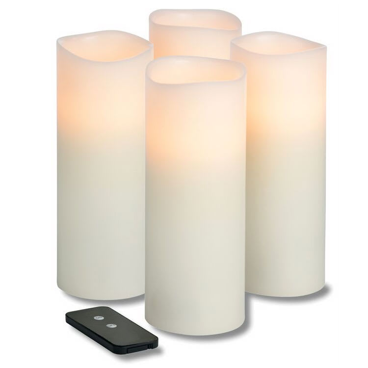 "Hollowick WP38ITR TruFlame LED Pillar Candle w/ Remote & 3-Stage Timer, 8"" High"