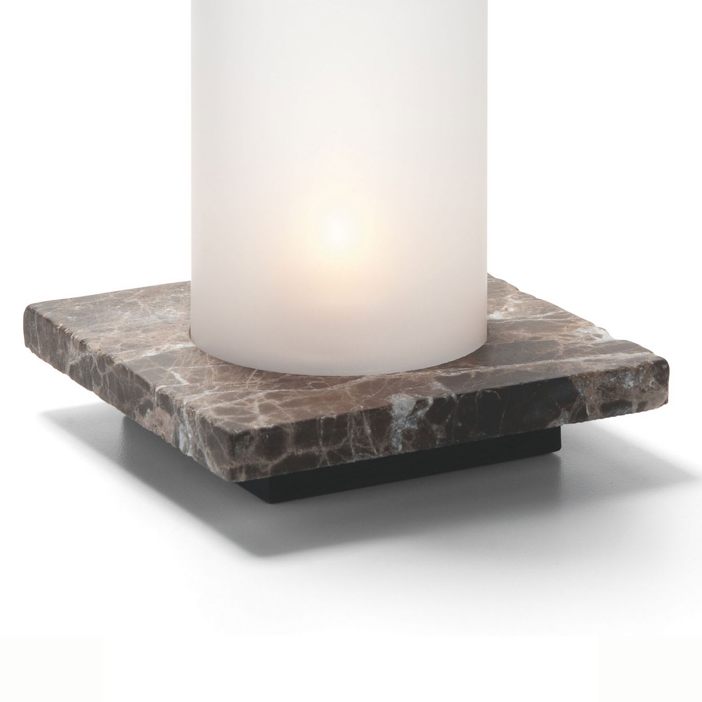 Hollowick ZEN-DEM Square Lamp Base, Single, Stone, Dark Emperador, 4x4.88""