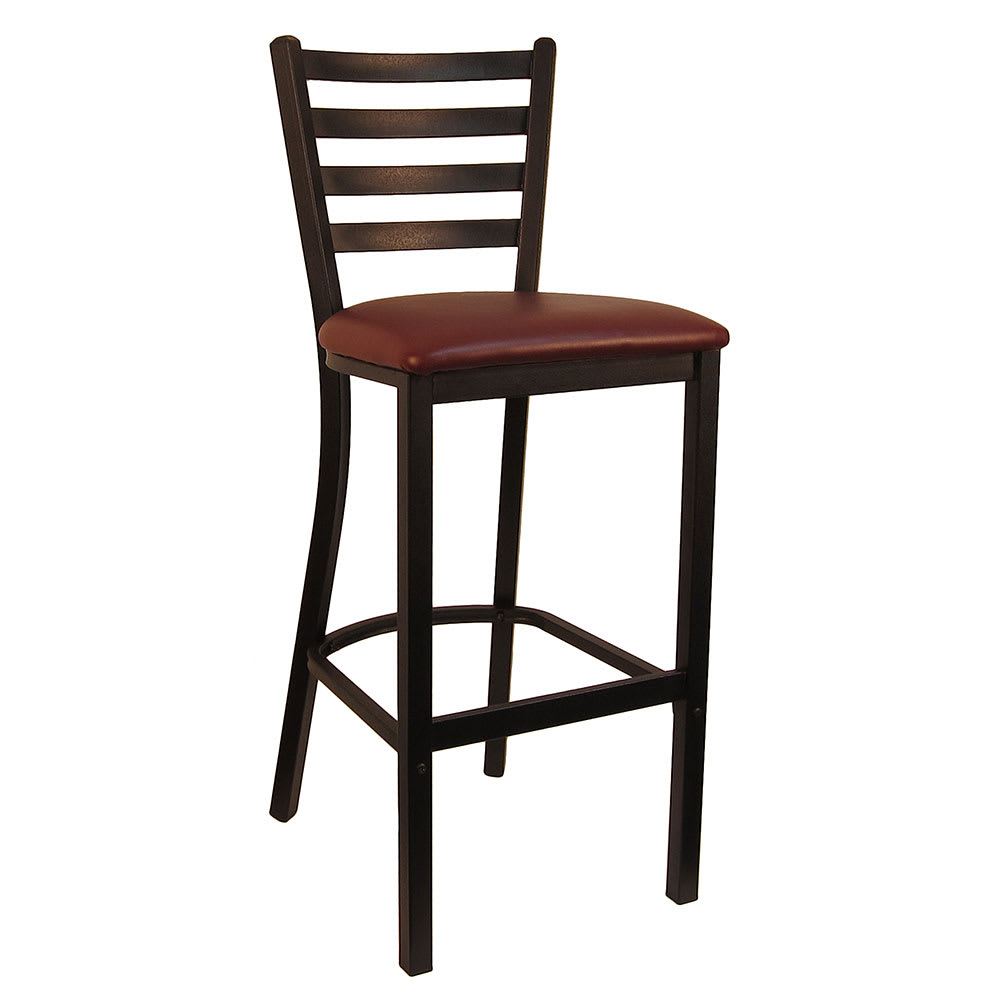 "H&D Commercial Seating 6145B 42"" Barstool w/ Ladder Back - Burgundy Vinyl Seat, Black Metal Frame"