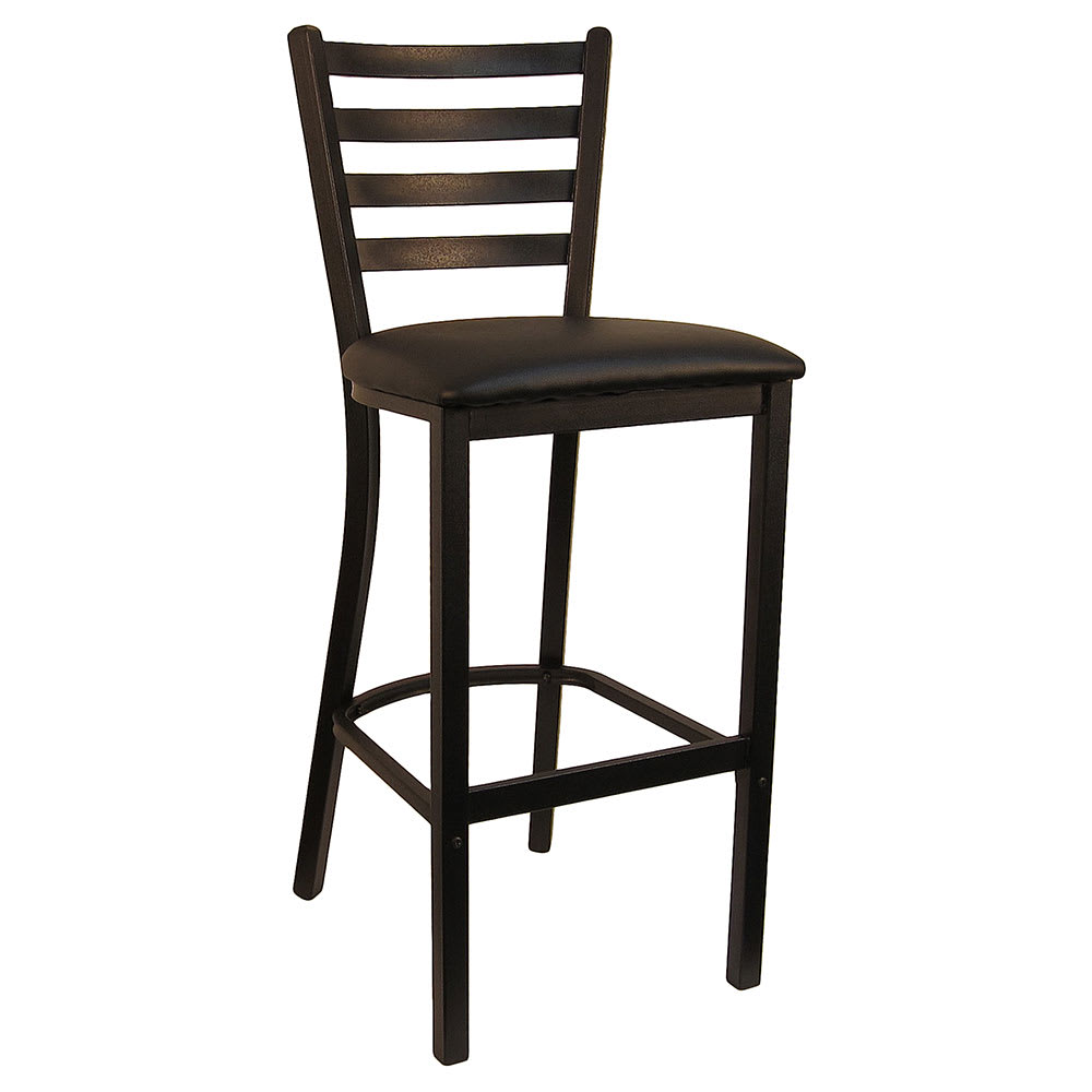 "H&D Commercial Seating 6145B 42"" Barstool w/ Ladder Back - Black Vinyl Seat, Black Metal Frame"
