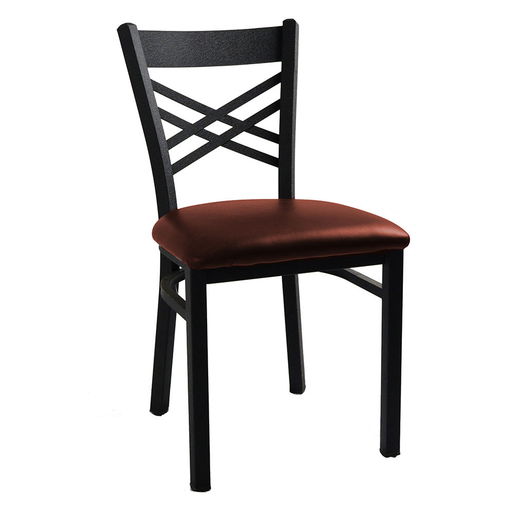 H D Commercial Seating 6159 Dining Chair W Cross Back Burgundy Vinyl Seat Black Metal Frame