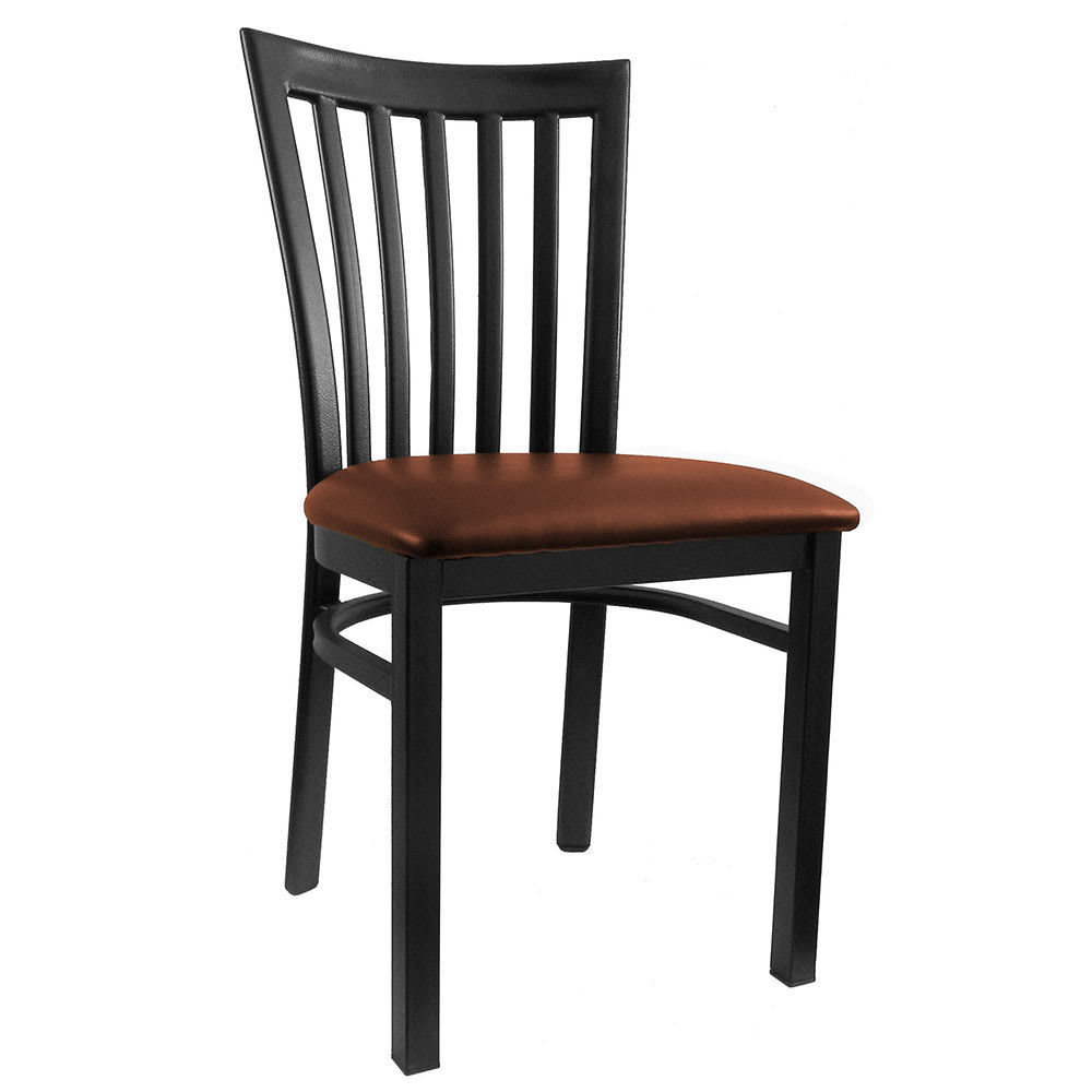 H&D Commercial Seating 6179 Dining Chair w/ Vertical Back - Burgundy Vinyl Seat, Black Metal Frame