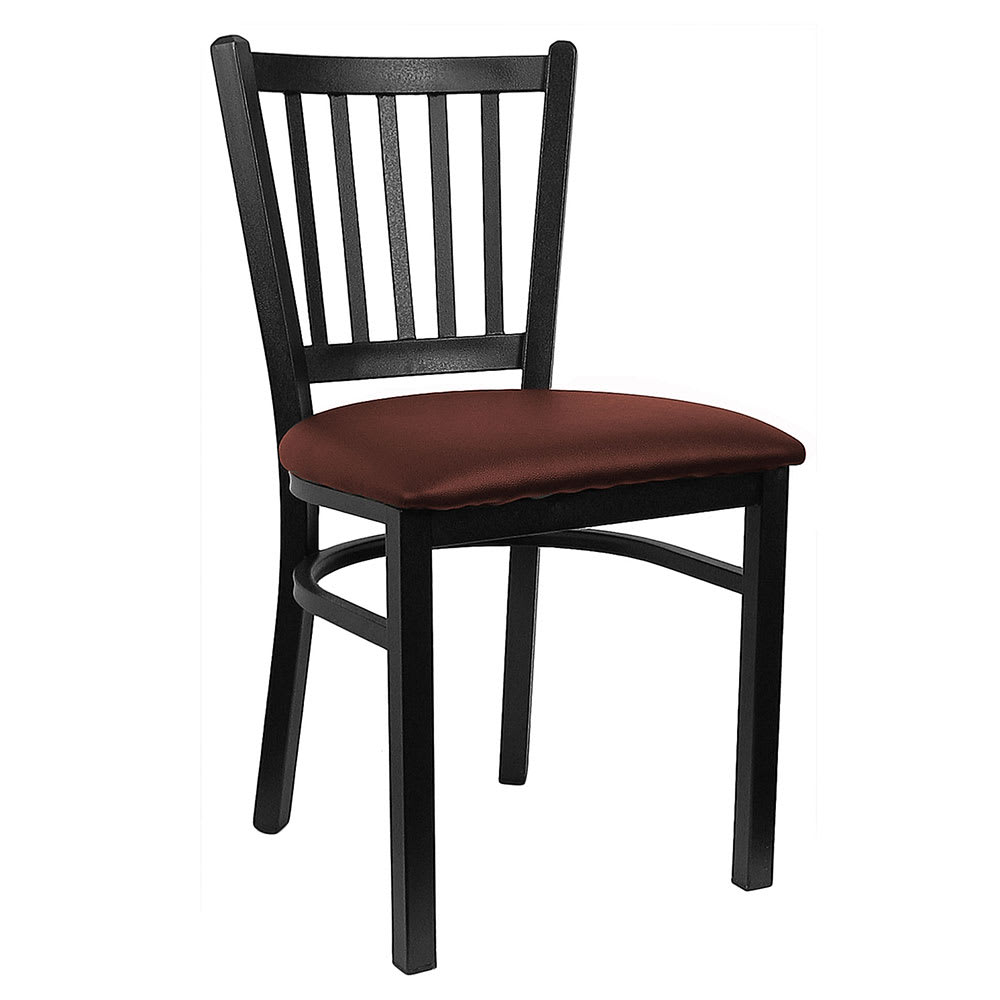 H&D Commercial Seating 6199 Dining Chair w/ Vertical Back - Burgundy Vinyl Seat, Black Metal Frame