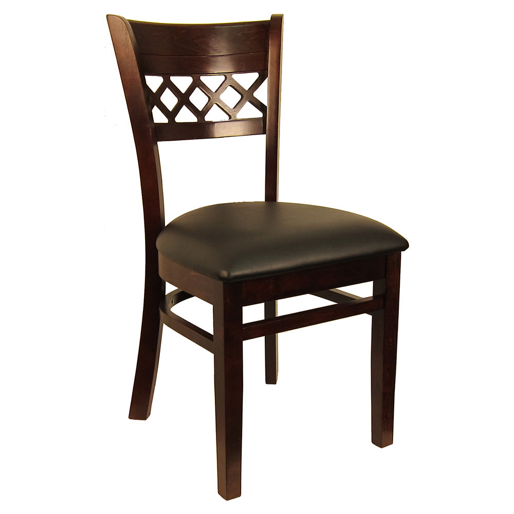 Hu0026D Commercial Seating 8230 Dining Chair W/ Lattice Back   Black Vinyl  Seat, Dark Walnut Frame