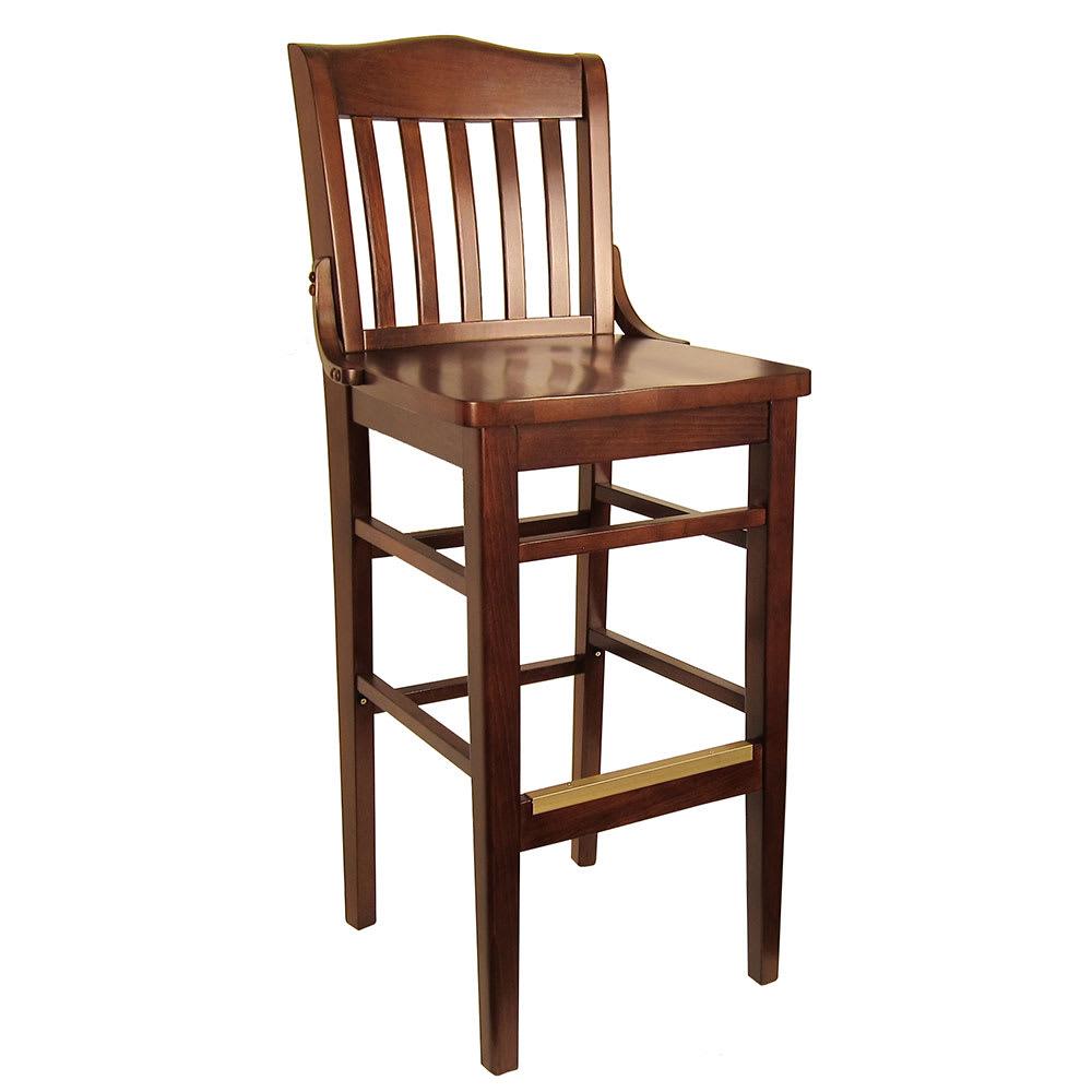 Sensational Hd Commercial Seating 8235B 44 Barstool W Vertical Back Solid Wood Seat Dark Walnut Frame Dailytribune Chair Design For Home Dailytribuneorg
