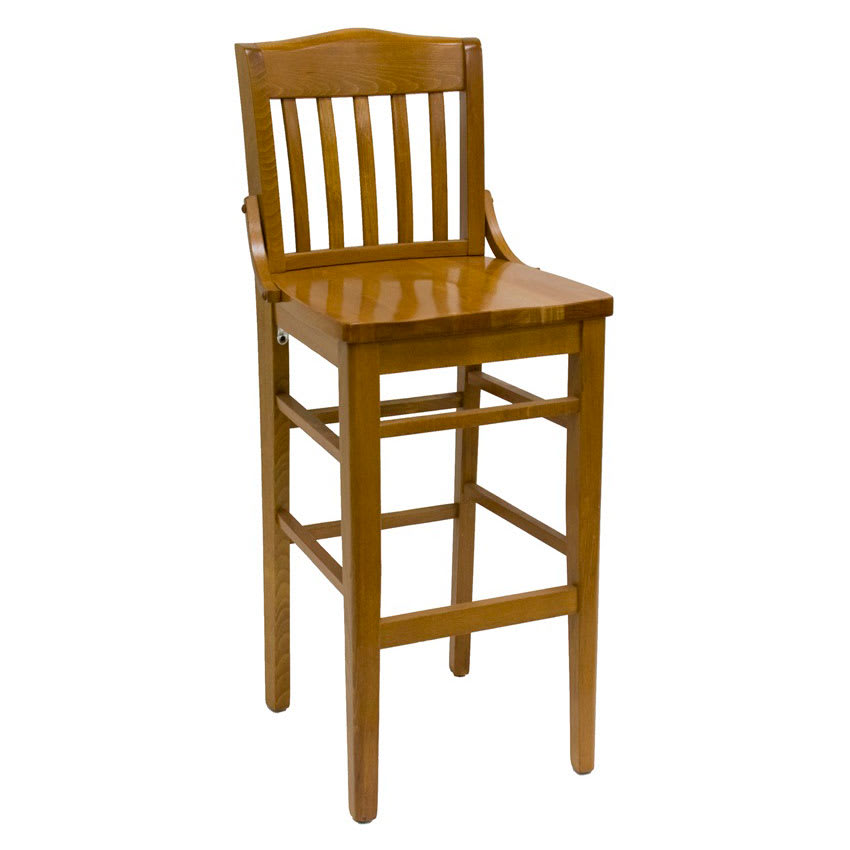 Wondrous Hd Commercial Seating 8235B 44 Barstool W Vertical Back Solid Wood Seat Wild Cherry Frame Dailytribune Chair Design For Home Dailytribuneorg