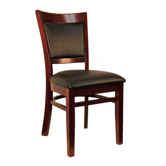 H&D Commercial Seating 8279 Dining Chair w/ Upholstered Vinyl Back - Black Vinyl Seat, Dark Mahogany Frame