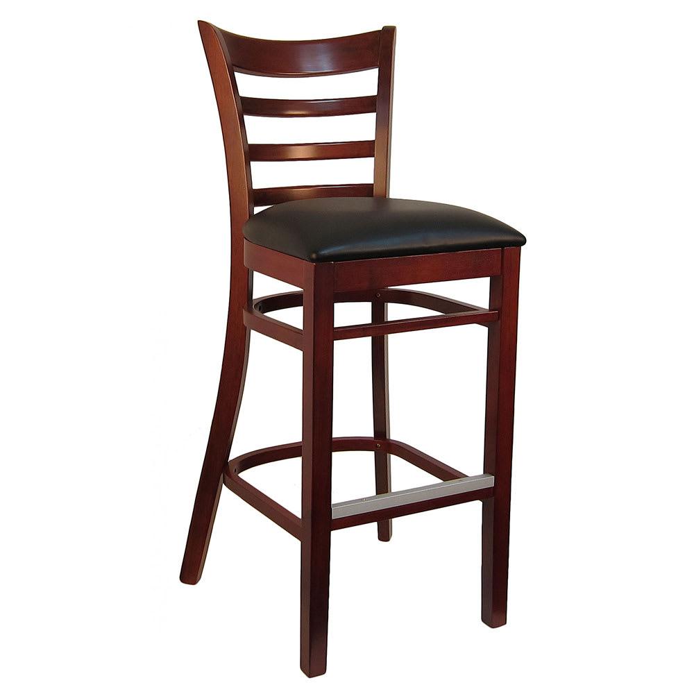 "H&D Commercial Seating 8641B 42"" Barstool w/ Ladder Back - Black Vinyl Seat, Dark Mahogany Frame"