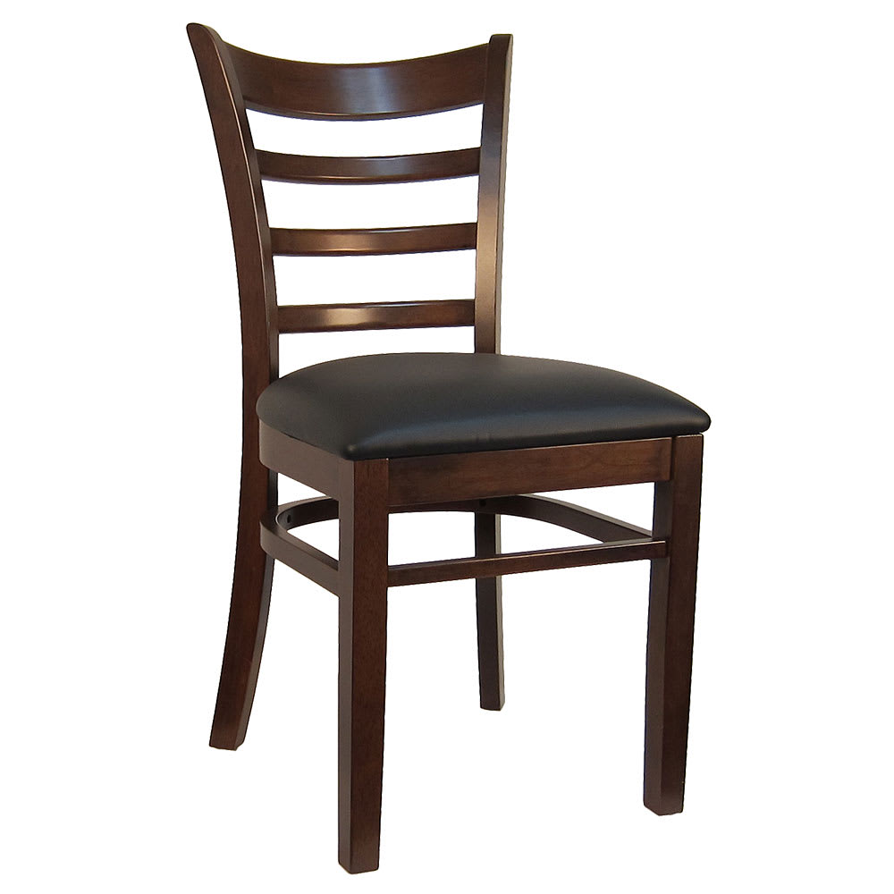 Fabulous Hd Commercial Seating 8641 Dining Chair W Ladder Back Black Vinyl Seat Dark Walnut Frame Gmtry Best Dining Table And Chair Ideas Images Gmtryco