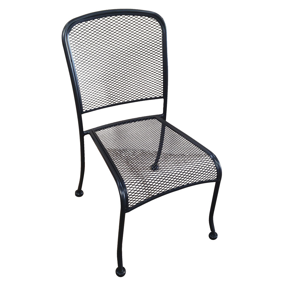 H&D Commercial Seating MC19S Stacking Side Chair w/ Metal Mesh Back - Wrought Iron, Black