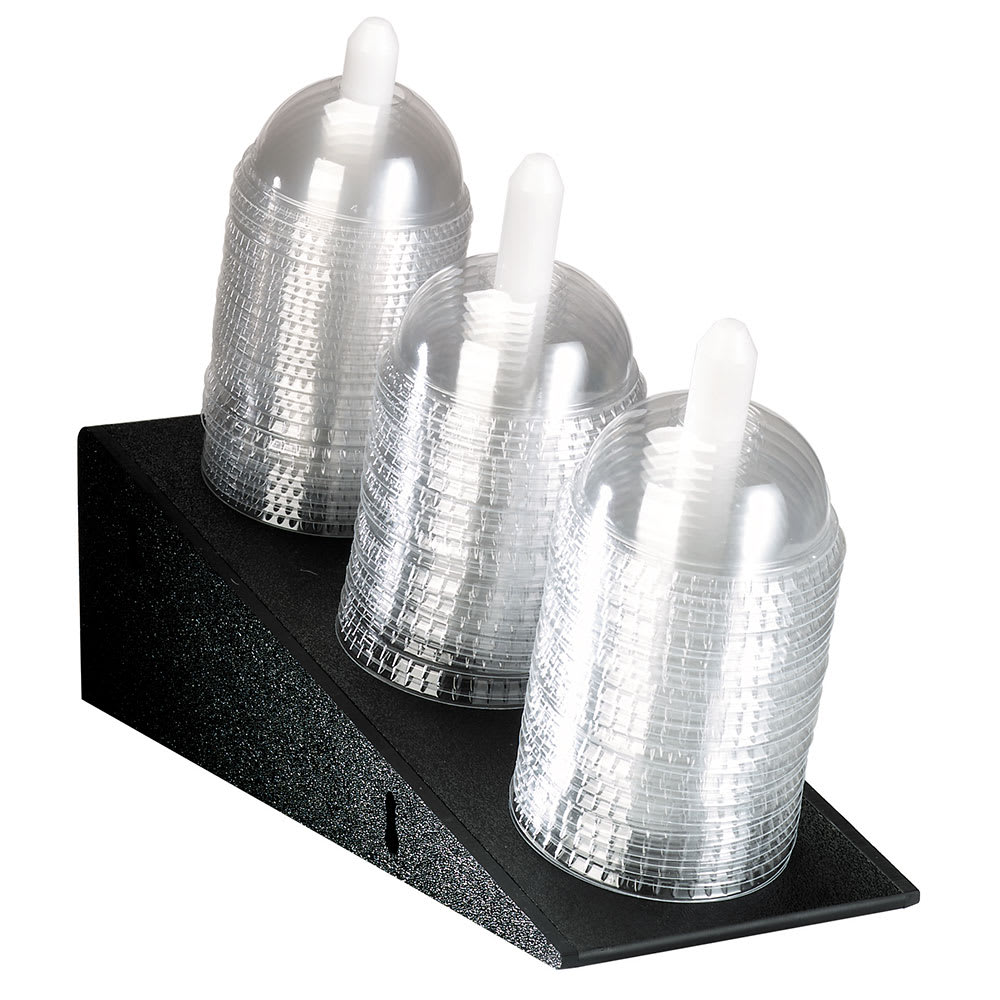 Dispense-rite ADL3 Dome Lid Organizer, Countertop or Surface Mnt, 3 Section, Black