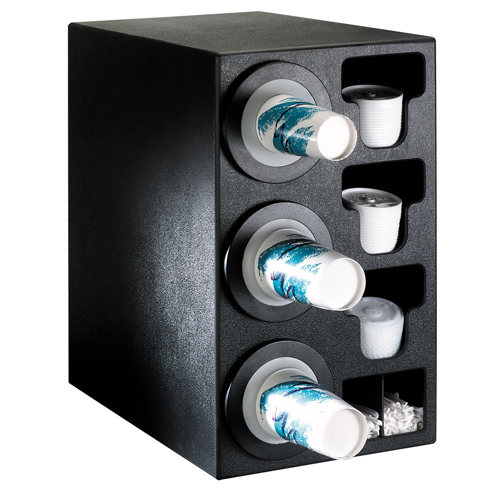 Dispense-rite BFLC3BT Cup Dispensing Cabinet, (3) 8-44 oz Cups, (3) Lid Chutes, (2) Straw Organizer