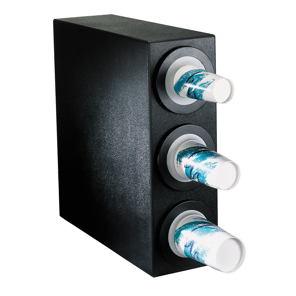 Dispense-rite BFLS3BT Cup Dispensing Cabinet, (3) 8-44 oz Cups, Black Texture Polystyrene