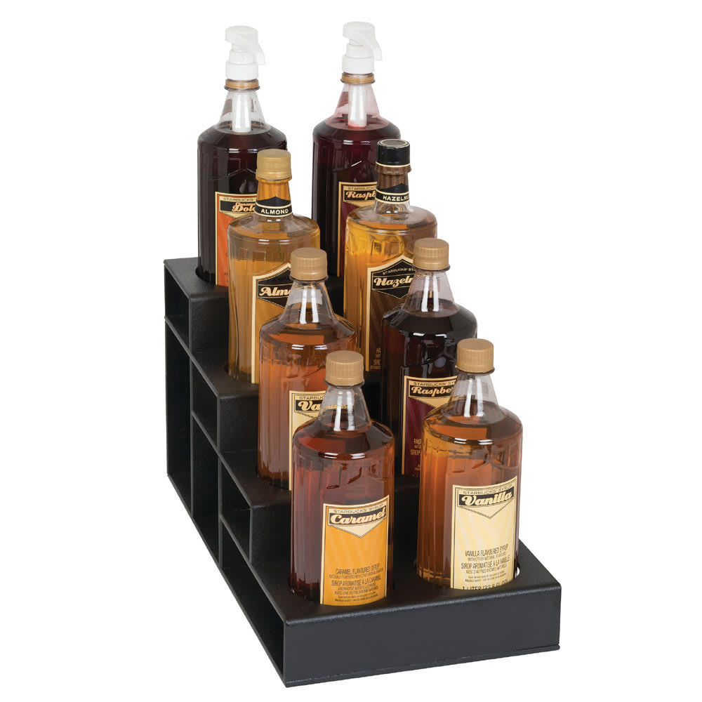 Dispense-rite CTBH-8BT 4-Tier Bottle Organizer w/ 8-Bottle Capacity - Polystyrene, Black