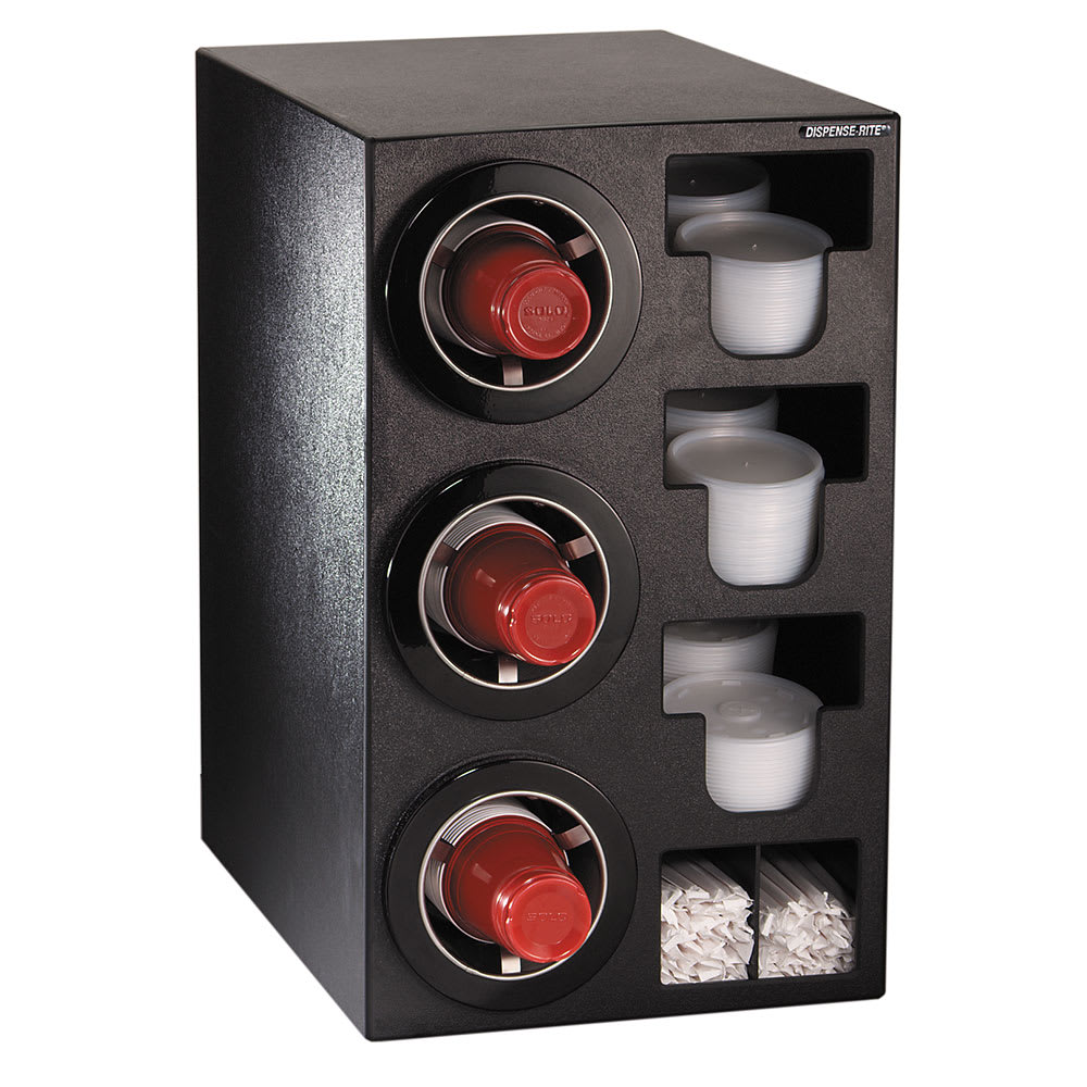 Dispense-rite CTCC3BT Cup Dispensing Cabinet, (3) 8 44 oz Cups, (3) Lid Chutes, (2) Straw Organizer